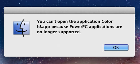 PowerPC apps no longer supported in Lion